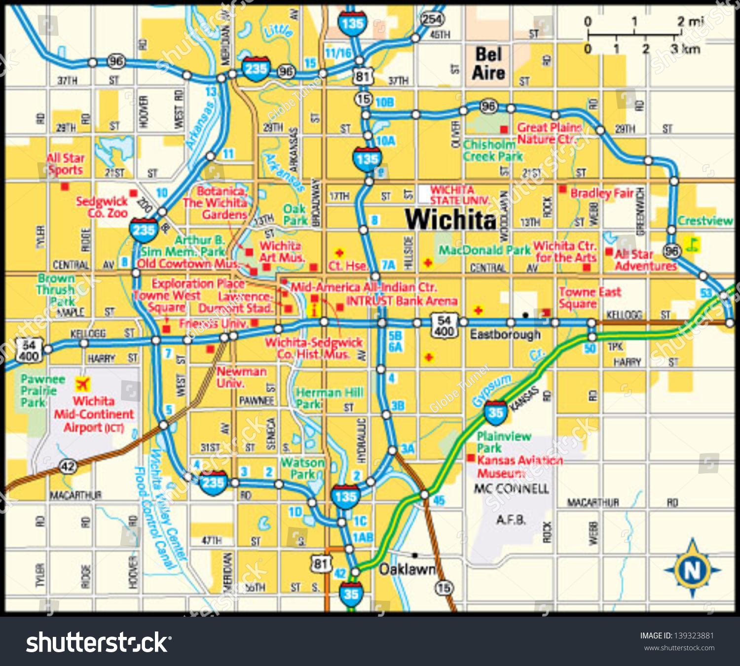 Image Gallery Wichita Map