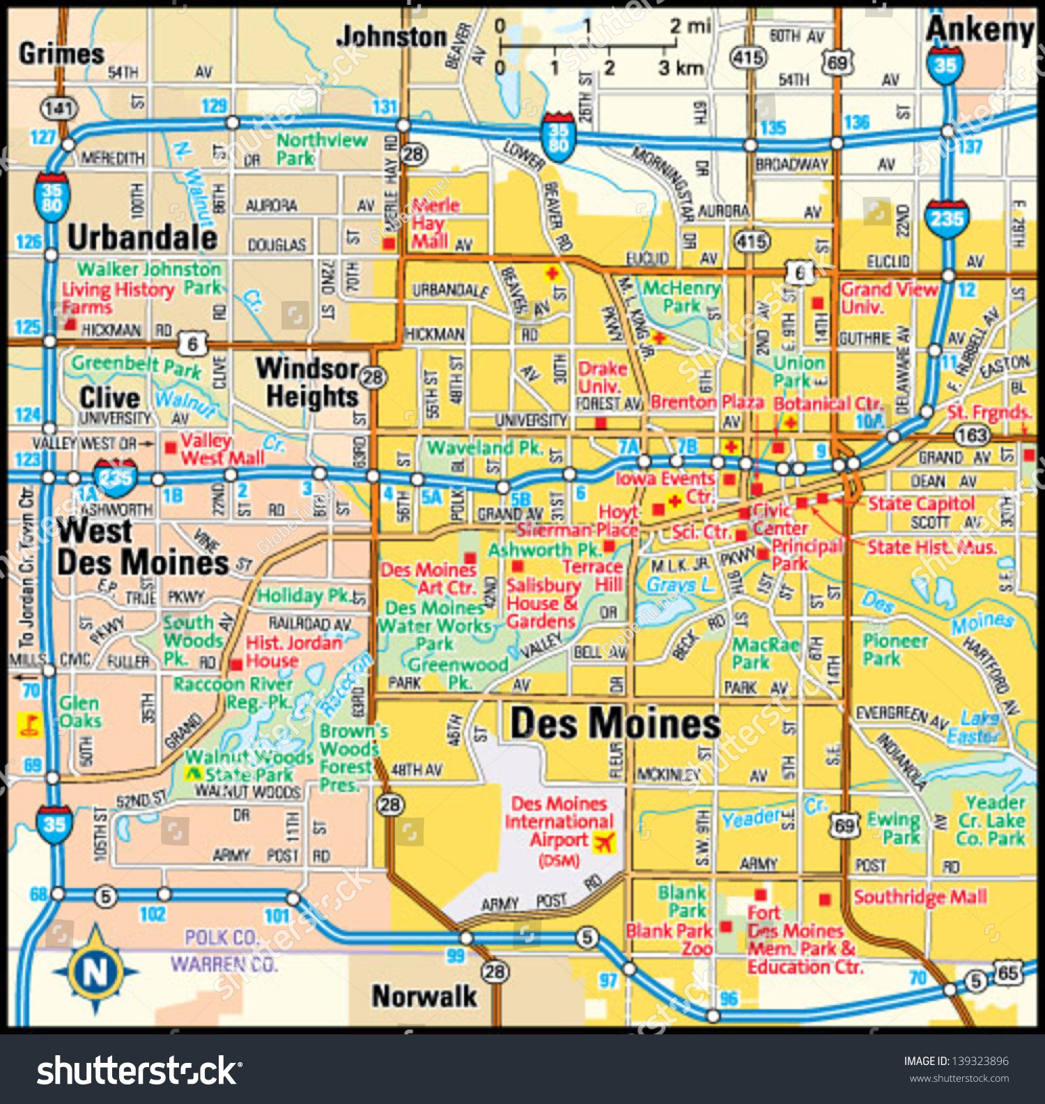 Des Moines Iowa Area Map Stock Vector (Royalty Free) 139323896 ...