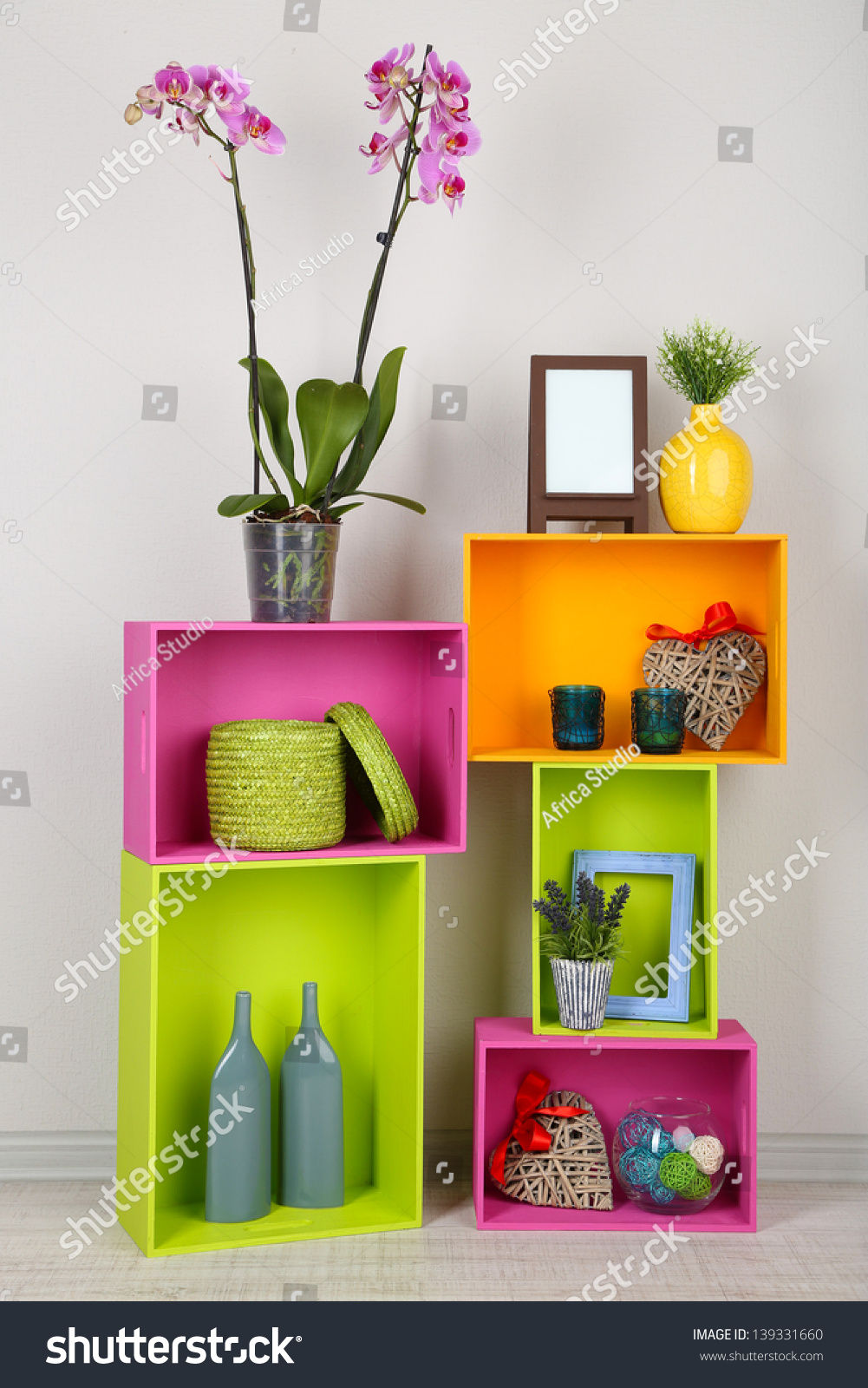 Beautiful colorful shelves with different home related objects stock photo 139331660 shutterstock - Beautiful photoshelves ...