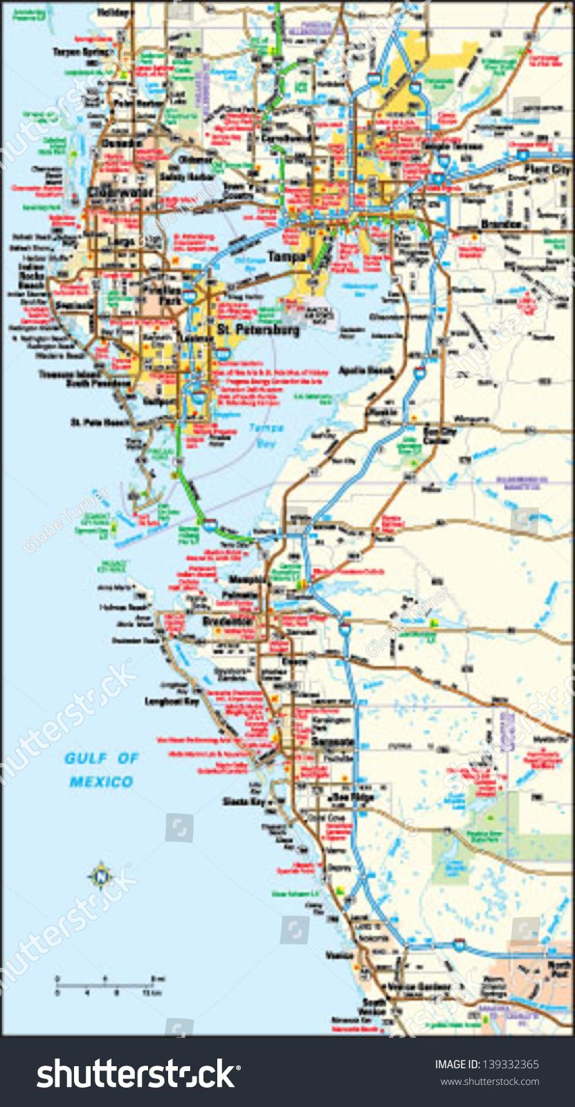 Map Tampa Florida.Tampa Florida Area Map Stock Vector Royalty Free 139332365