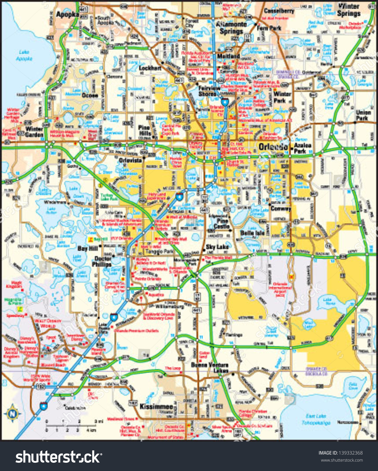 Orlando Florida Area Map Stock Vector  Shutterstock - Florida map orlando area