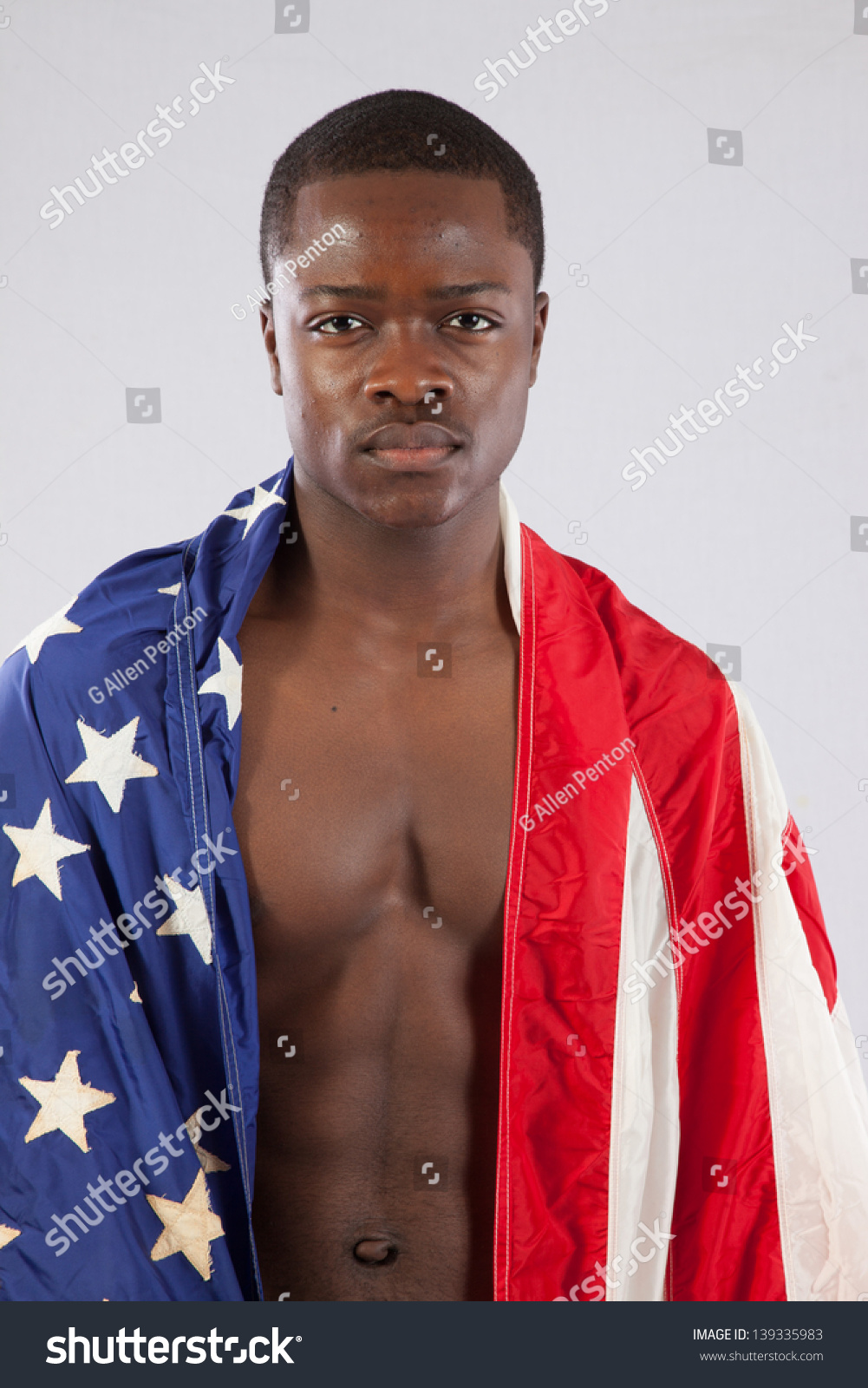 Royalty Free Serious Black Man With No Shirt On 139335983 Stock