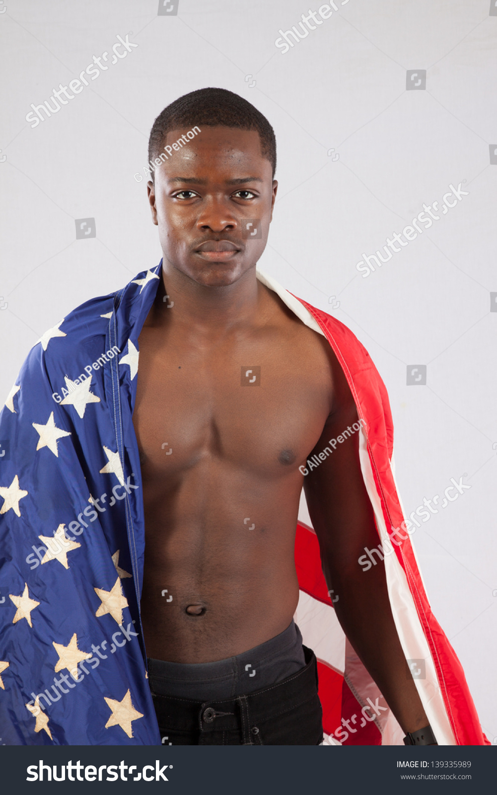 Royalty Free Serious Black Man With No Shirt On 139335989 Stock