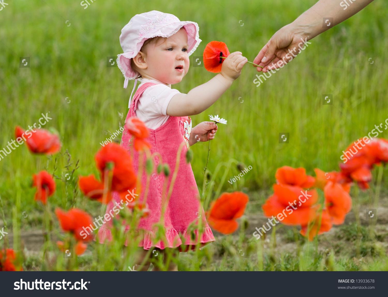 image nice babygirl amongst green field stock photo (edit now