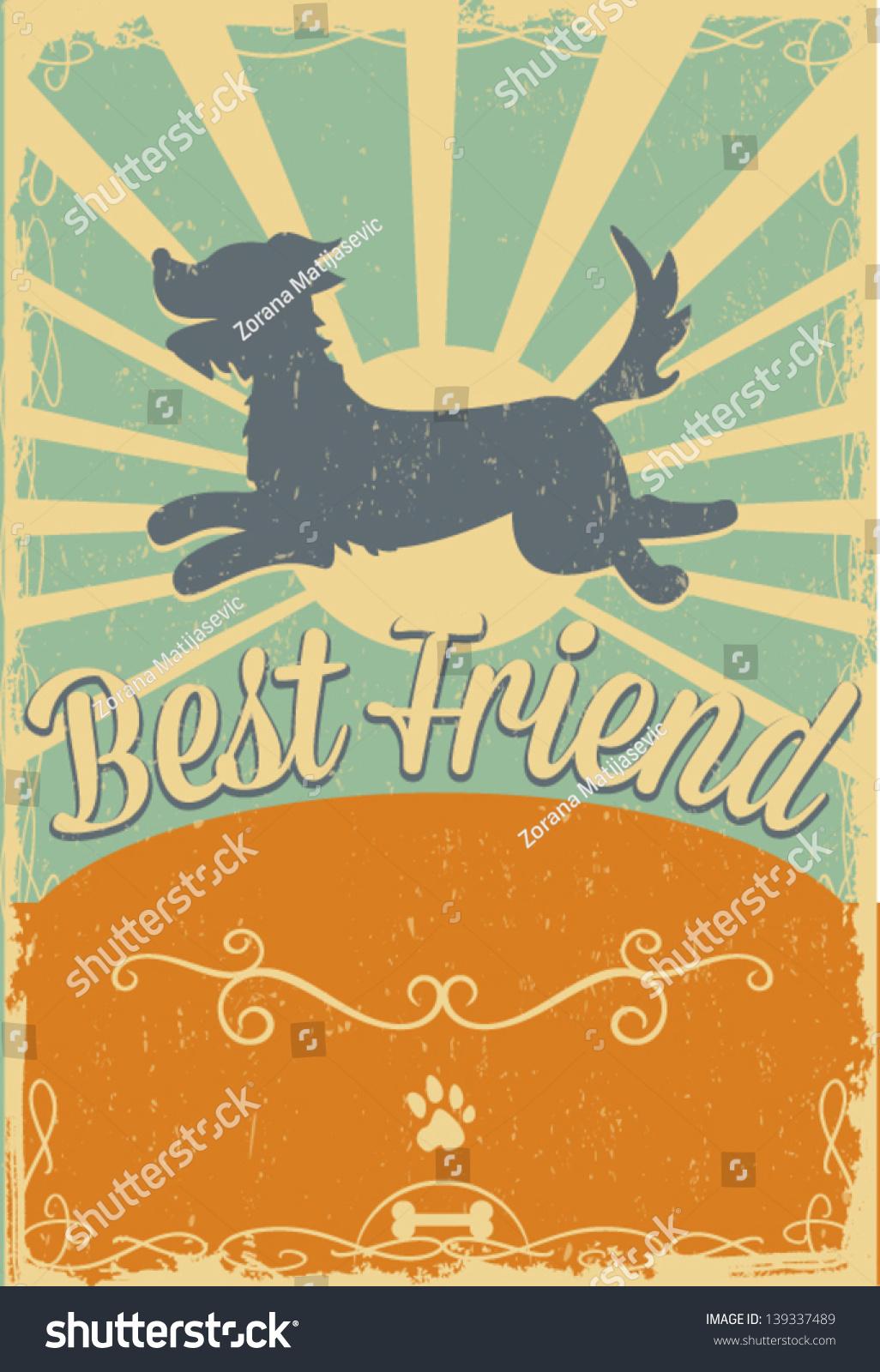 dog vintage poster stock vector 139337489