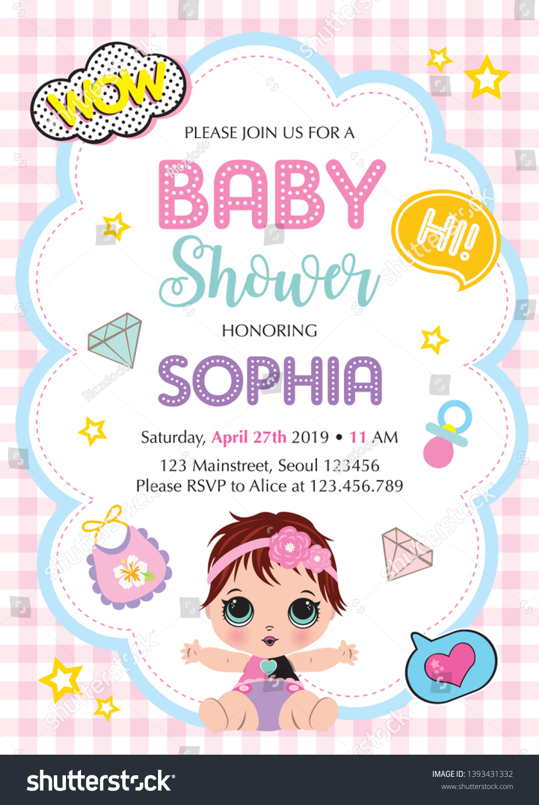 Girl Invitation Card Template Cute Baby Stock Vector Royalty Free