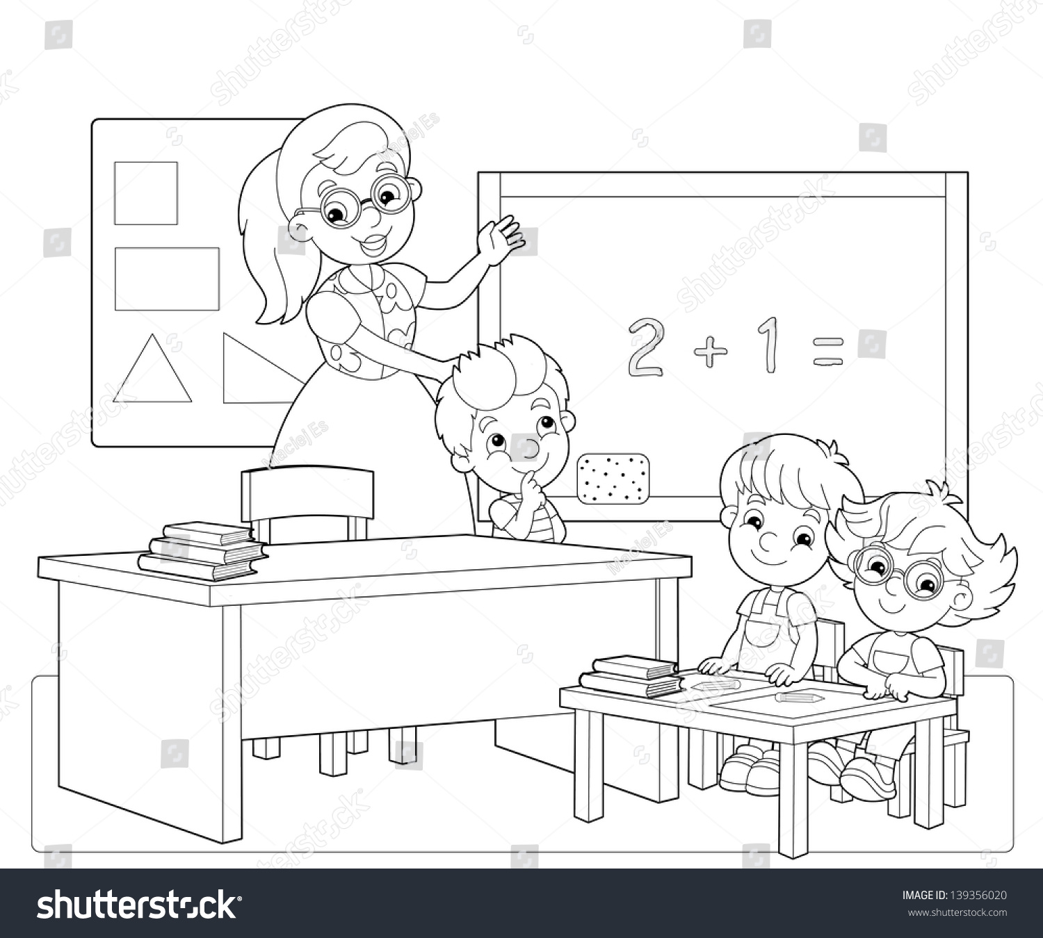 Coloring Page Classroom Illustration Children Stock