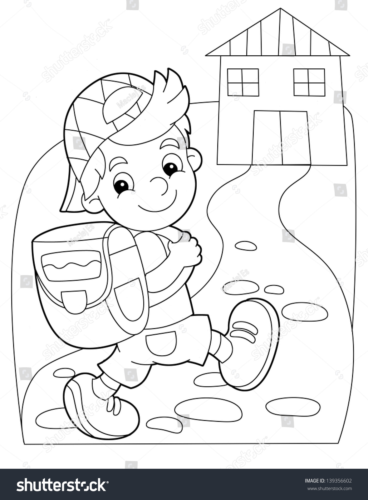 Coloring Plate Kid Going School Illustration Stock Illustration ...