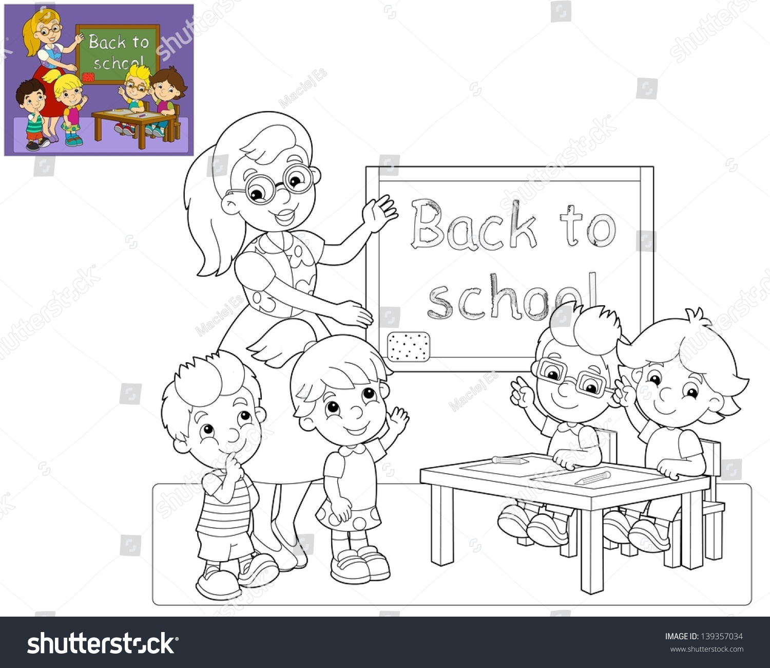 the coloring page the classroom illustration for the children