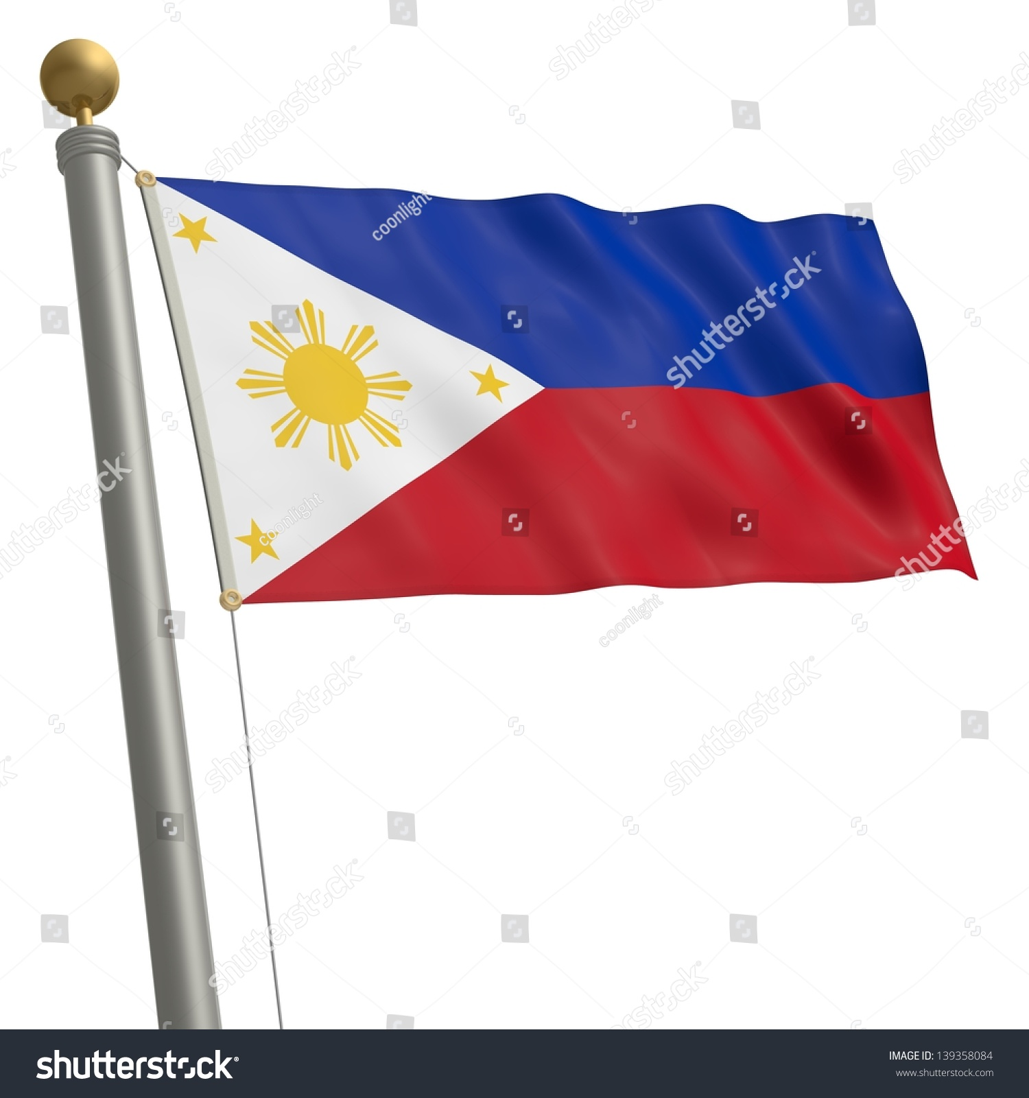 Flag Philippines Fluttering On Flagpole Stock Illustration ...