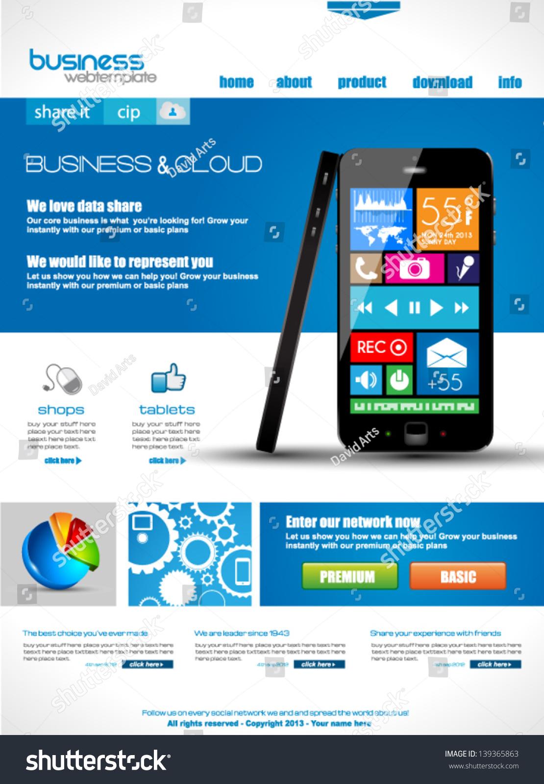 Website Template Corporate Business Cloud Purposes Stock ...