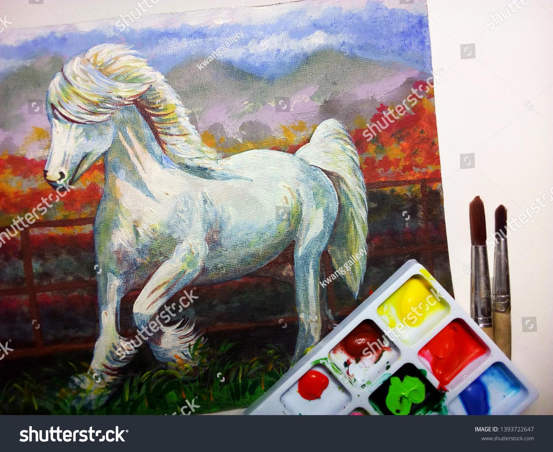 Art Painting Acrylic White Horse Stock Photo Edit Now 1393722647