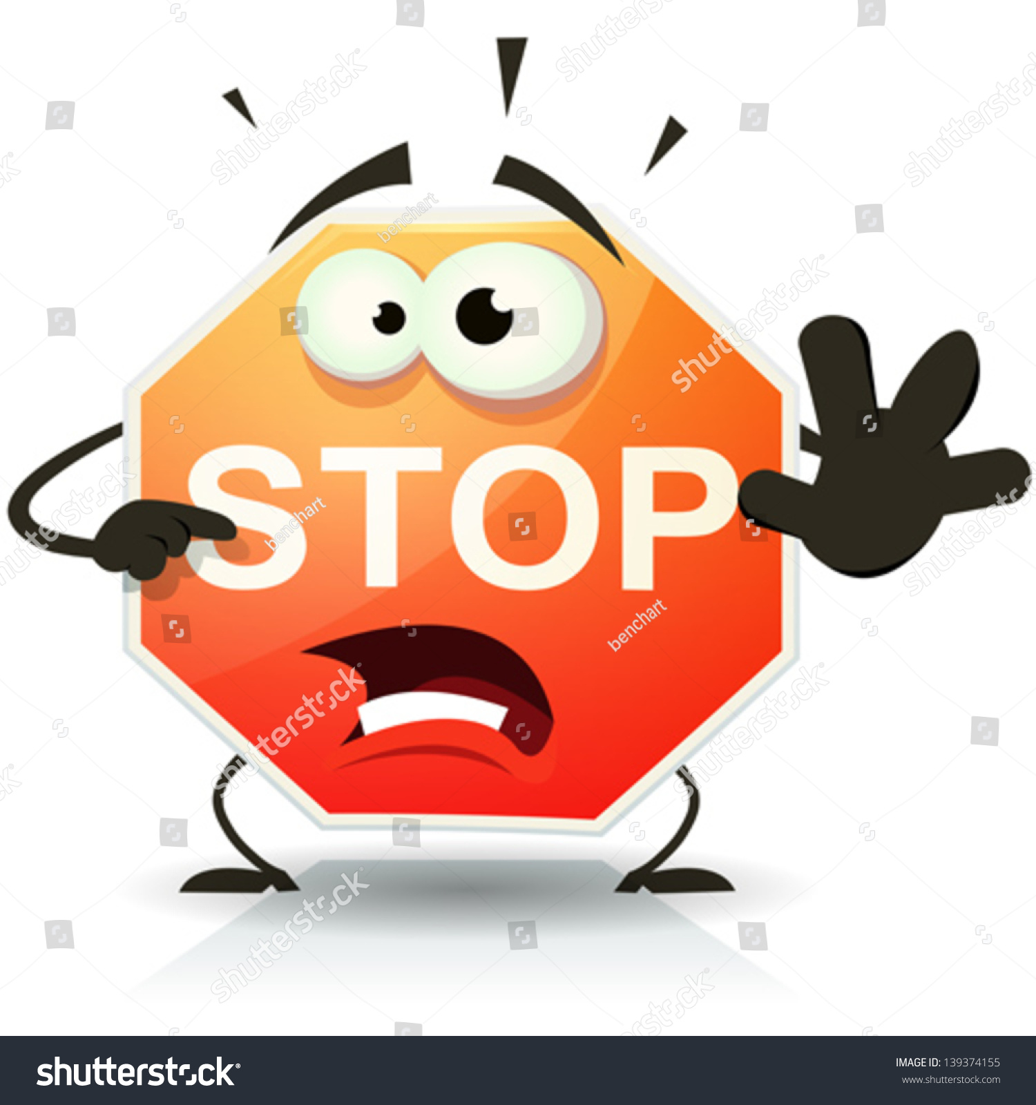 Stop Sign Icon Character Illustration Funny Stock Vector ...
