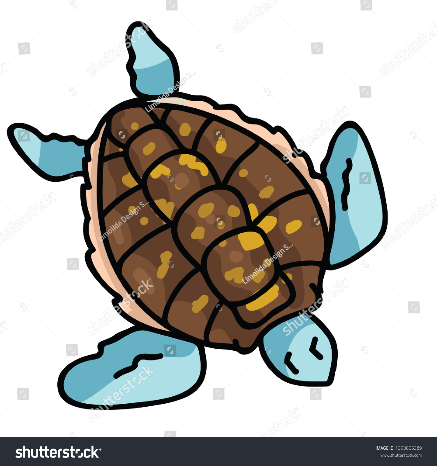 Cute Sea Turtle Top View Cartoon Stock Vector Royalty Free