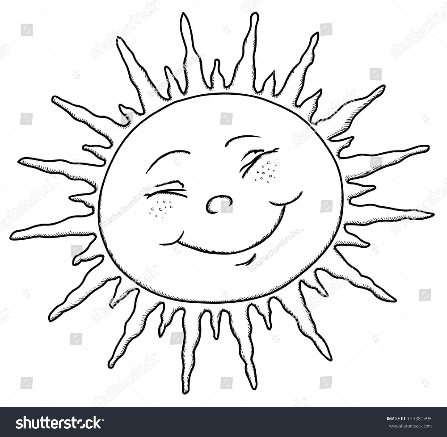Happy Sun Contour Ink Drawing Vector Stock Vector Royalty Free - Kids-coloring-pictures