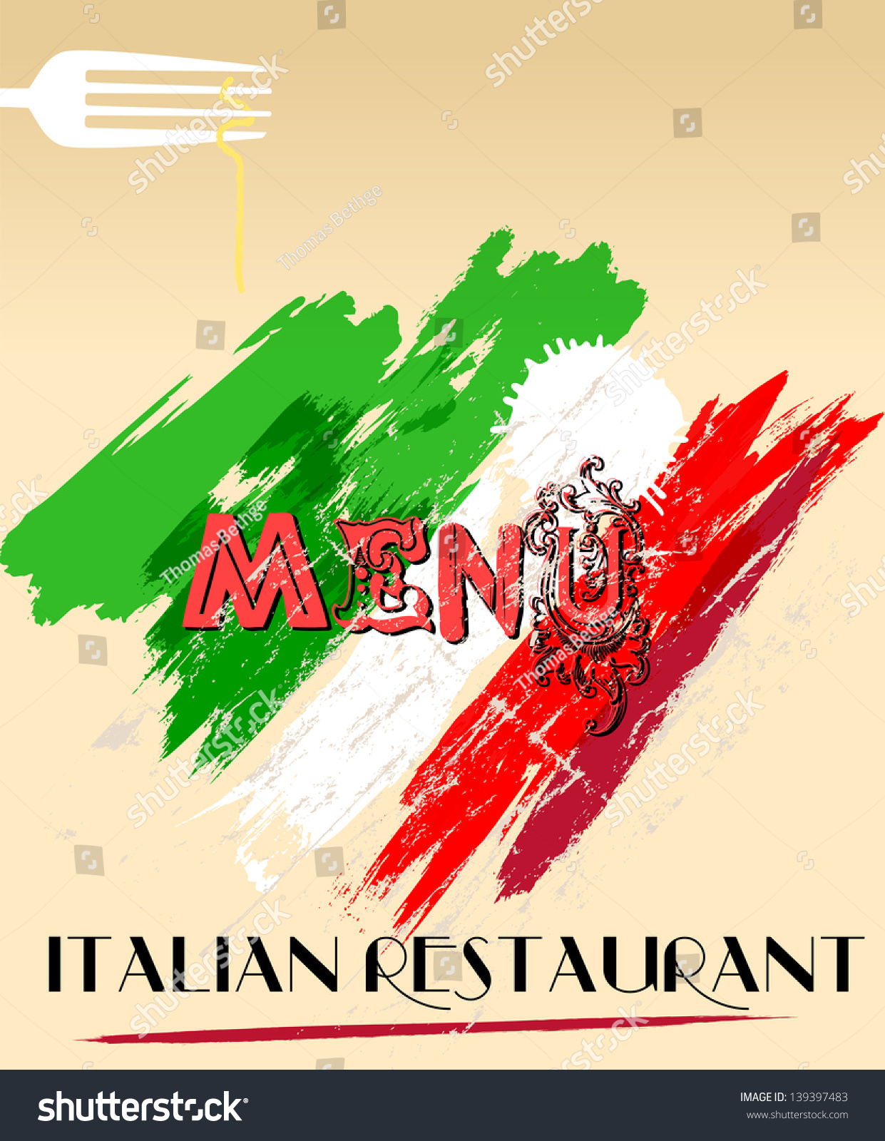 Menu Design Italian Restaurant Free Space Stock Vector ...