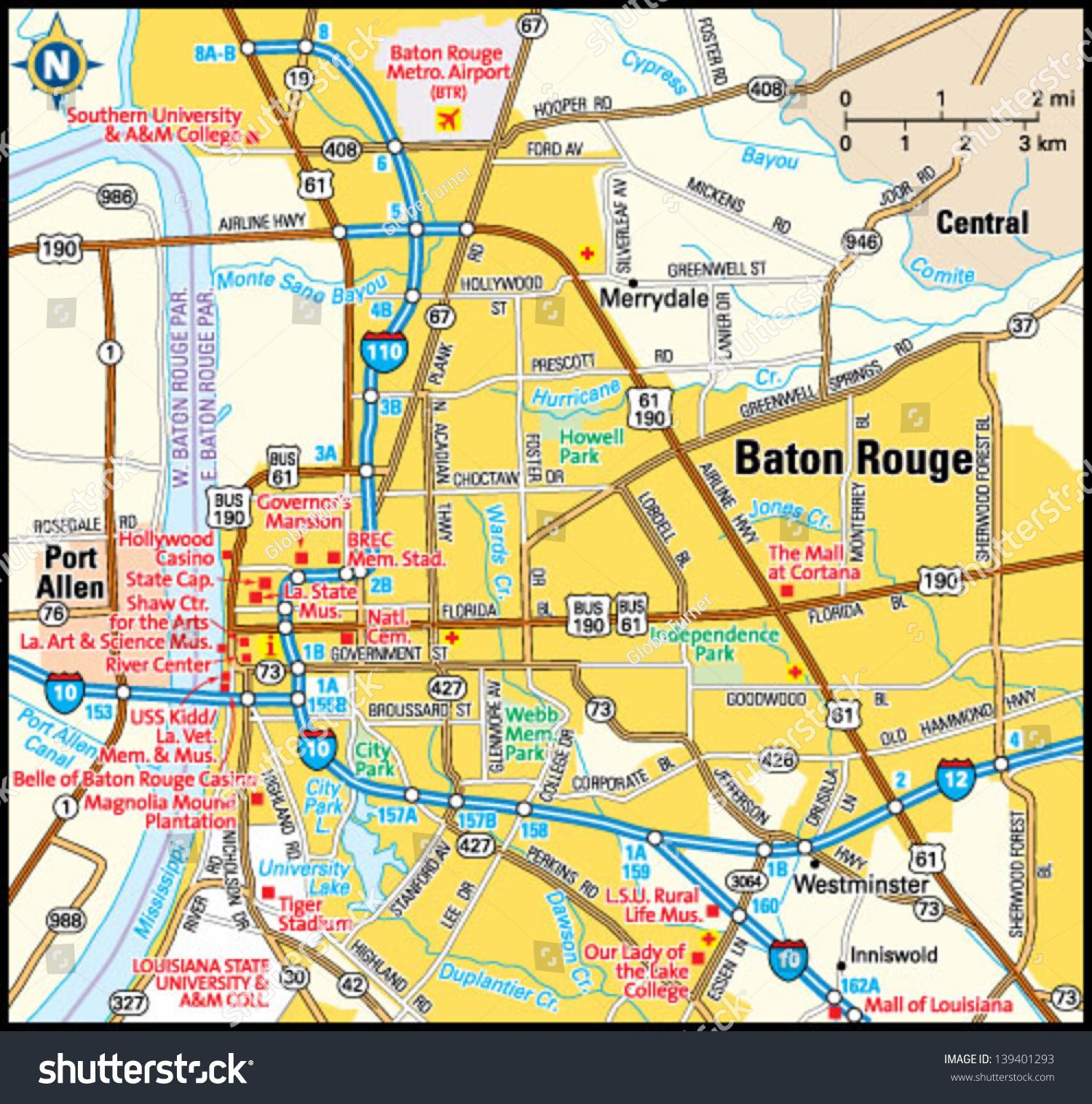 Baton Rouge Louisiana Area Map Stock Vector 139401293