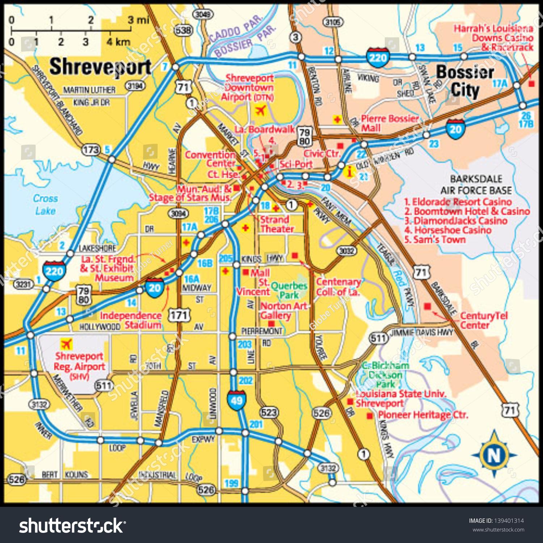 Shreveport Louisiana Area Map Stock Vector 139401314 Shutterstock