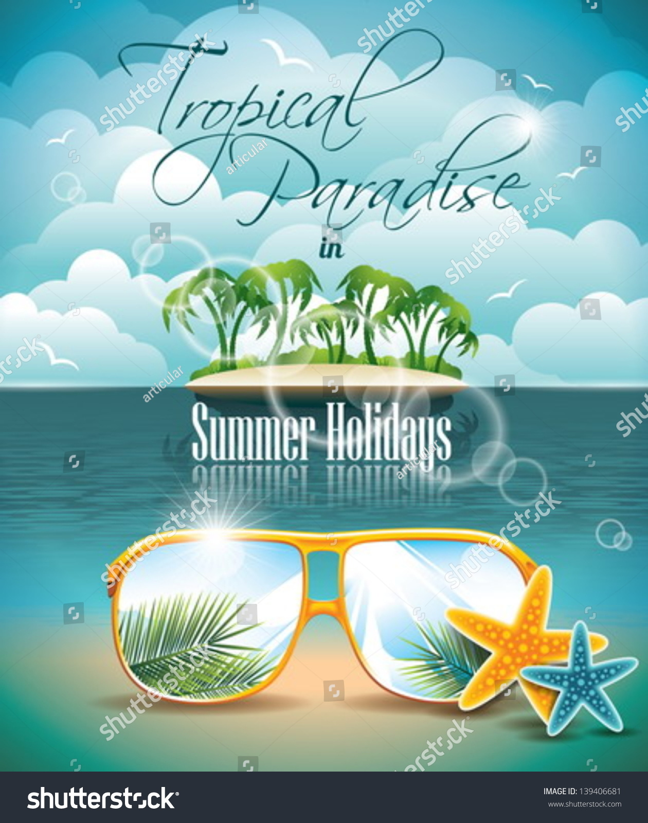 vector summer holiday flyer design palm stock vector 139406681 vector summer holiday flyer design palm trees and paradise island on clouds background eps10
