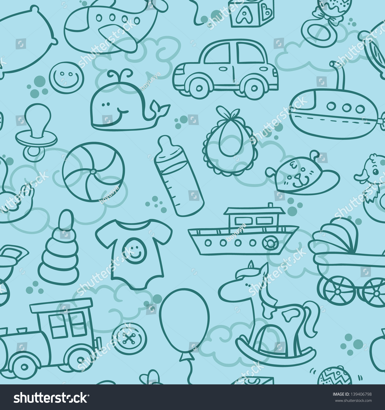 Baby Boy Toys Seamless Pattern Outline Stock Vector Royalty Free