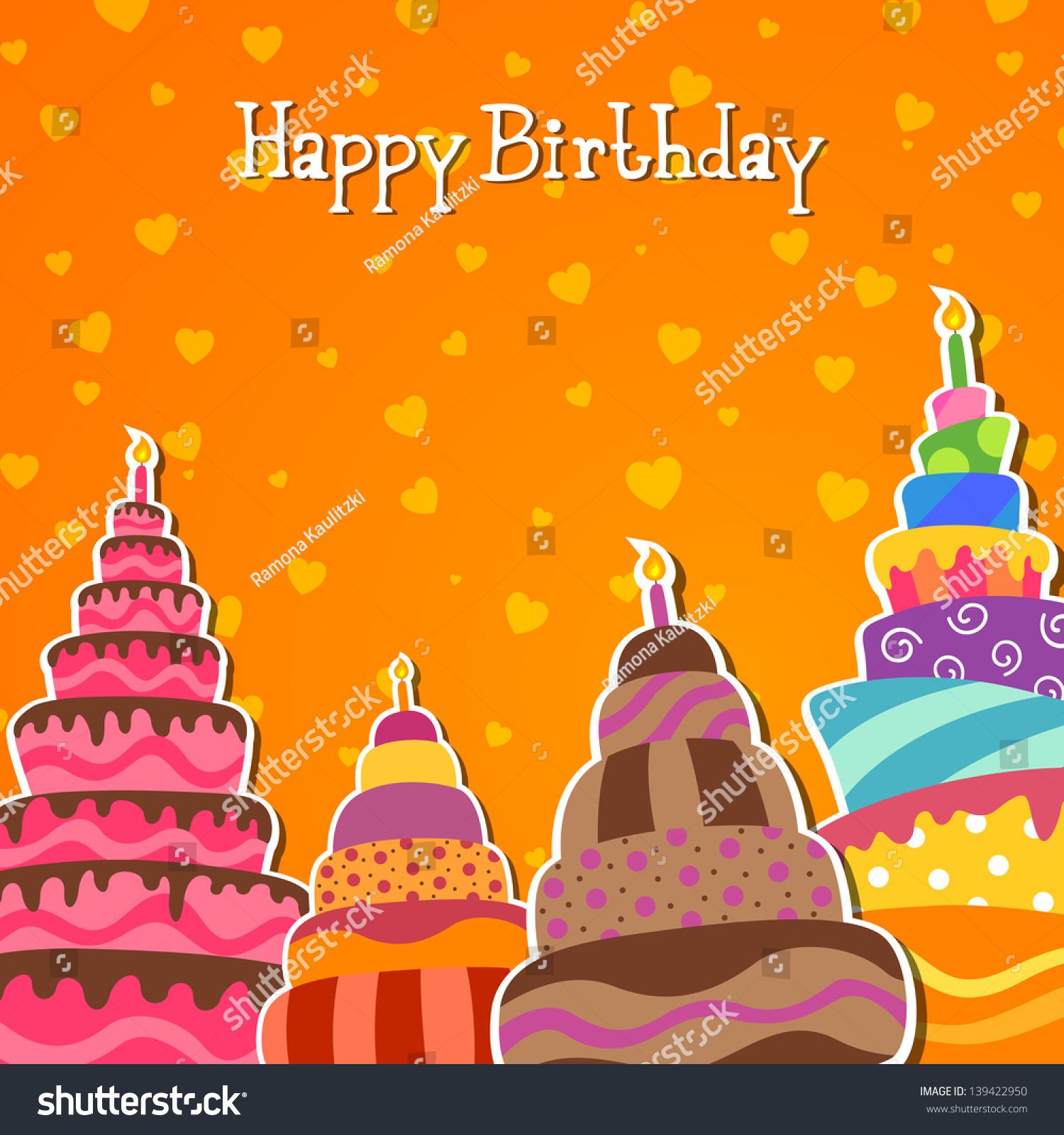 Vector Illustration Happy Birthday Card Stock Vector