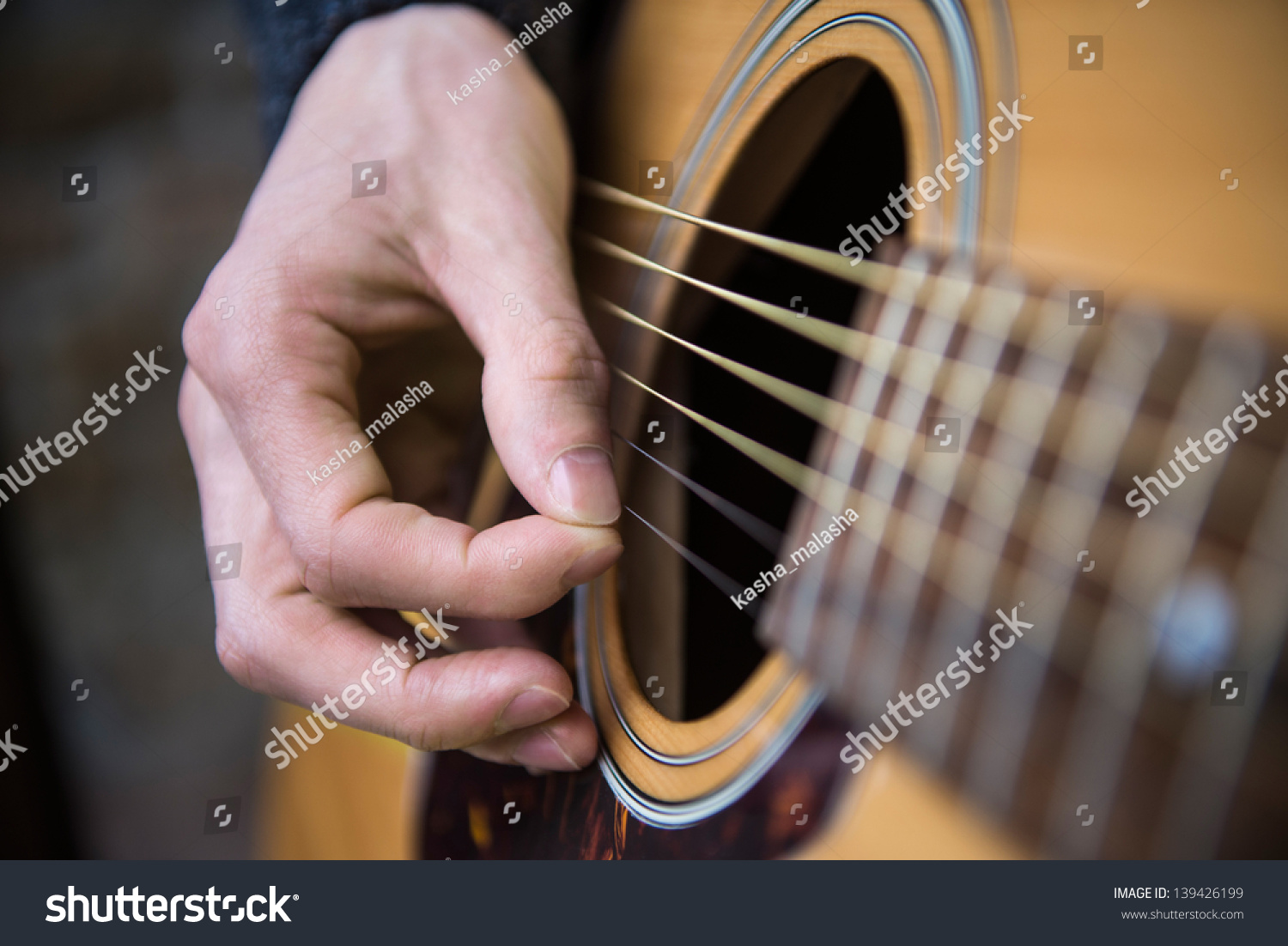 Hand Country Guitarist Playing Acoustic Guitar Stock Photo ...