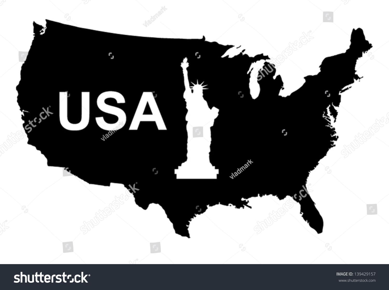 Usa Map Black Vector Silhouette Illustration Stock Vector - Usa map black