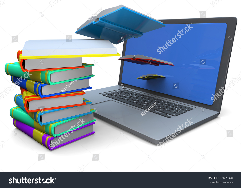 Computer Books 3d Stock Illustration 139429328