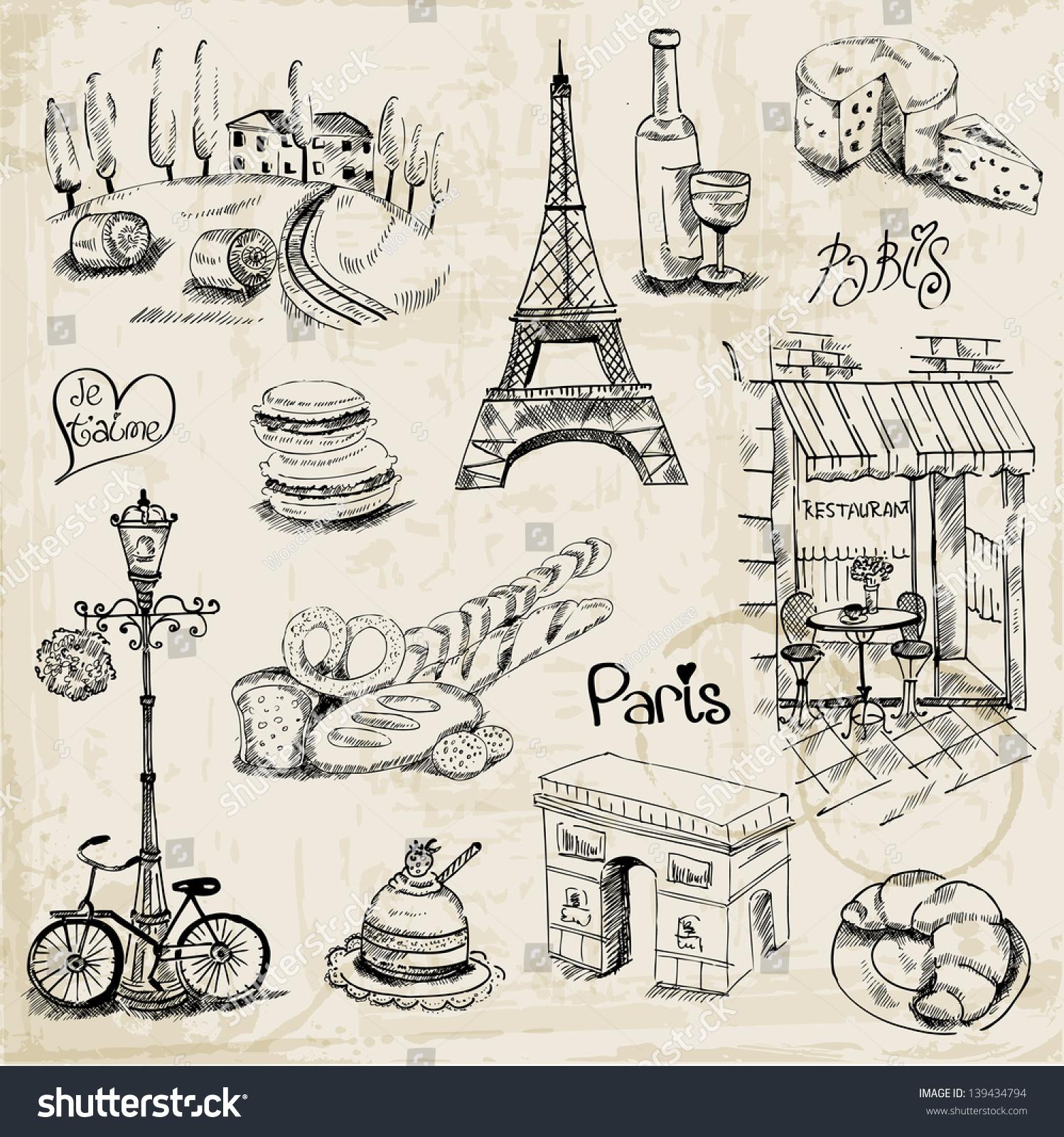 Paris illustration set design scrapbook vector stock for Design paris