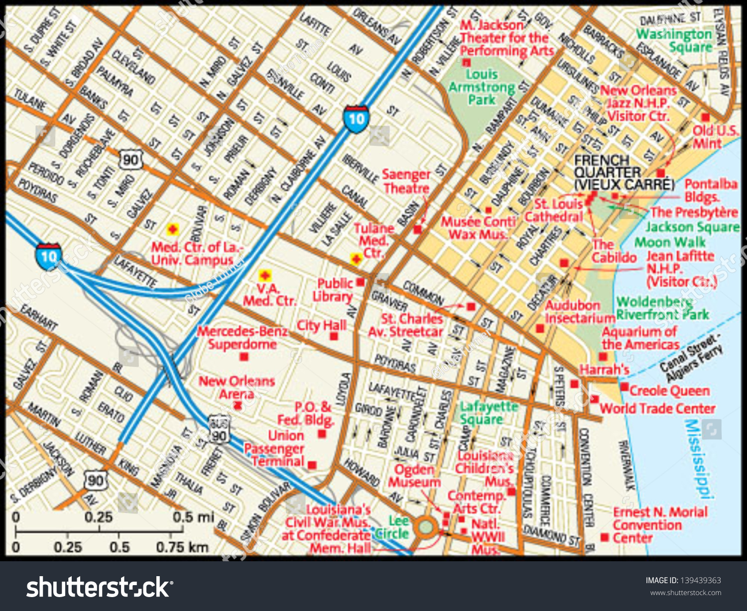 New Orleans Louisiana Downtown Map Stock Vector - Map of new orleans area