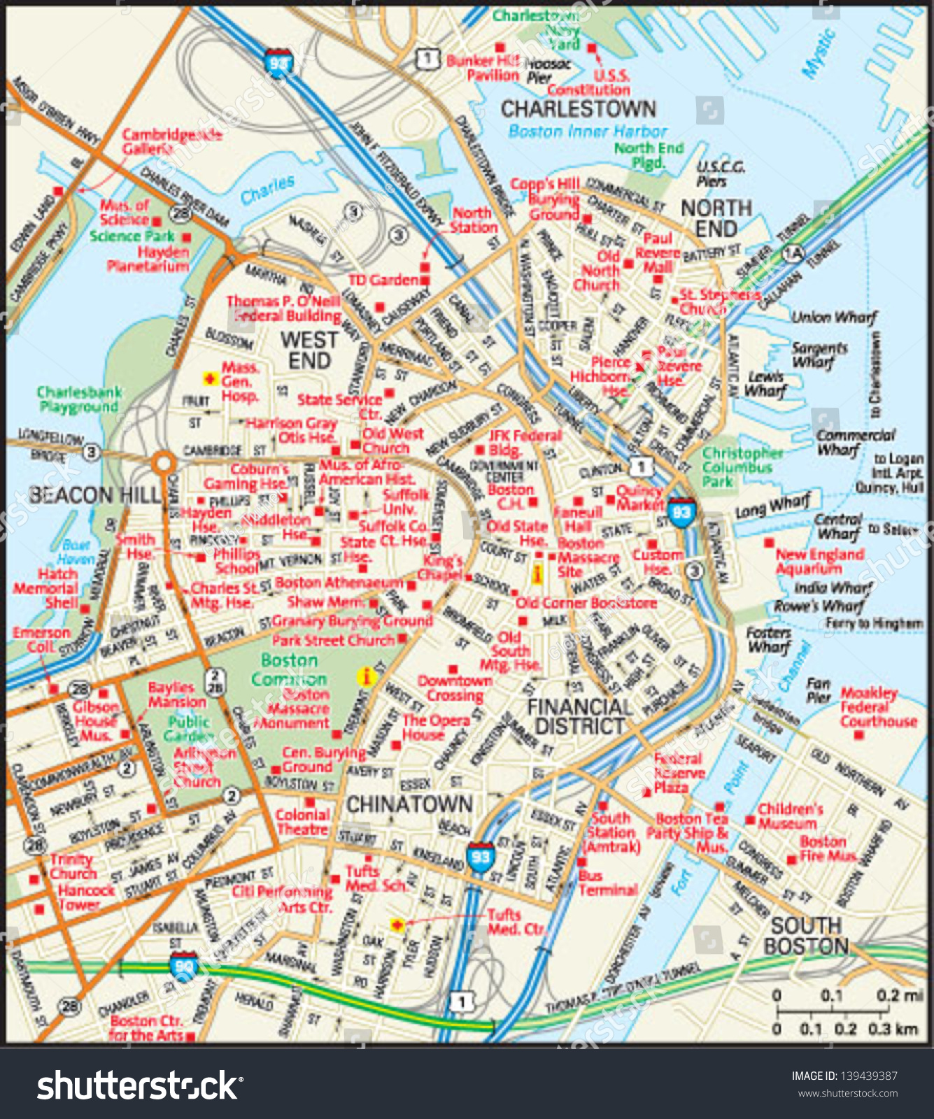 Downtown Boston Hotels Map on