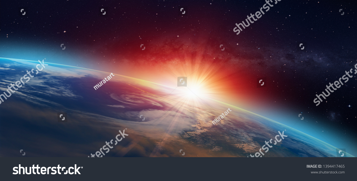 """Planet Earth with a spectacular sunset """"Elements of this image furnished by NASA"""" #1394417465"""