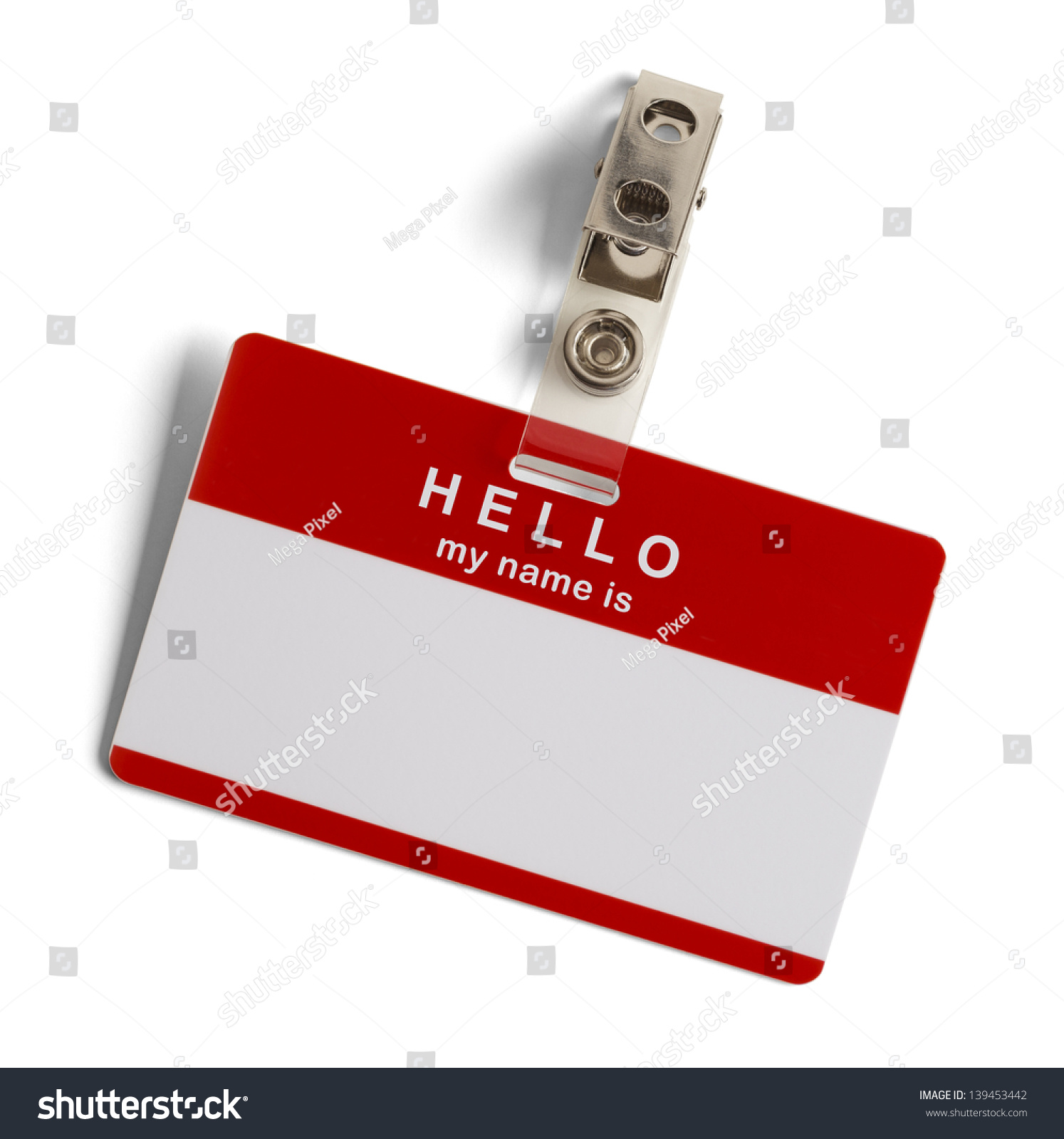 H tag background image - Red And White Plastic Name Tag With Hello My Name Is Isolated On White Background