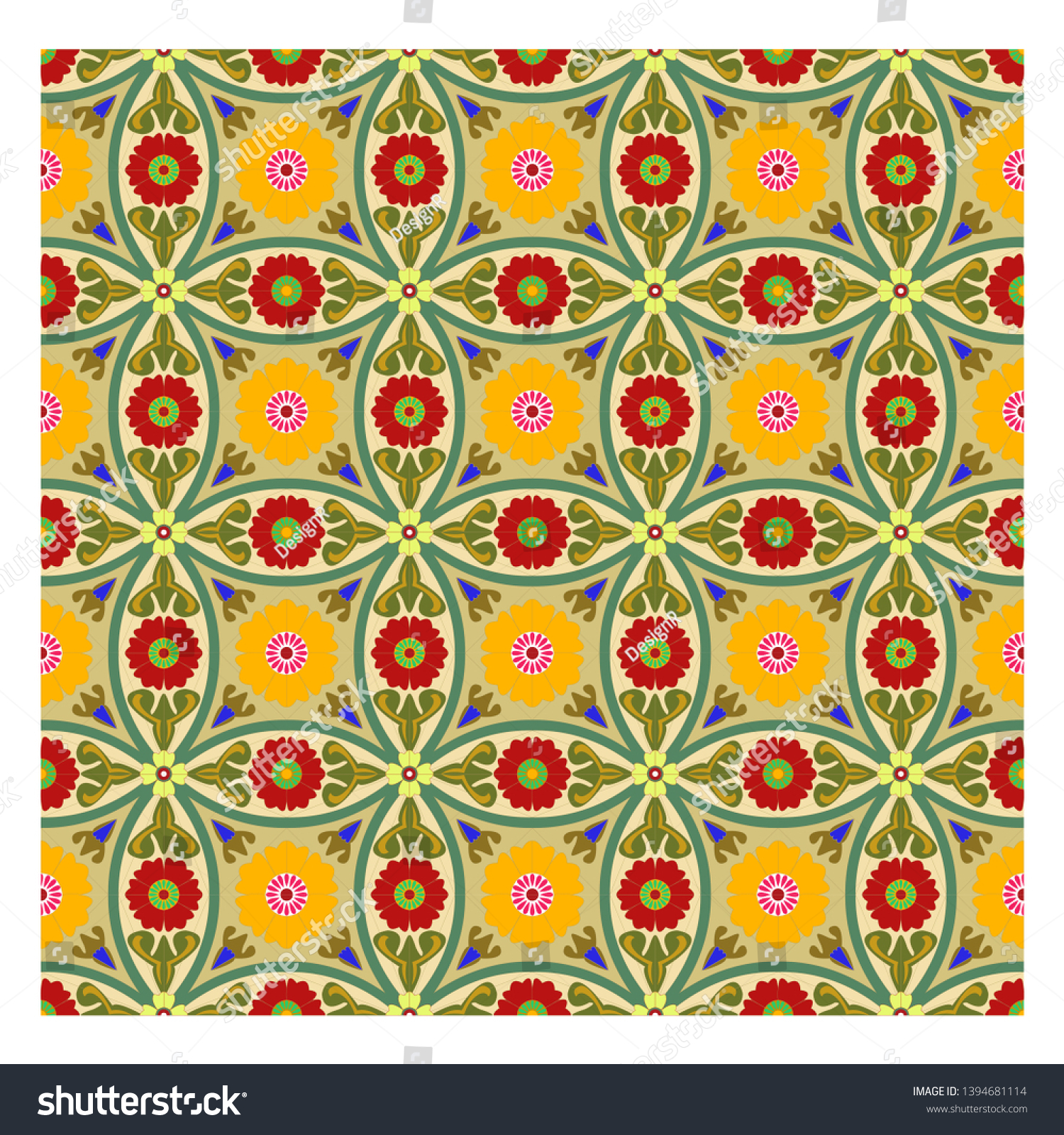Colorful Floral Patterns Seamlessly Tilingseamless Pattern