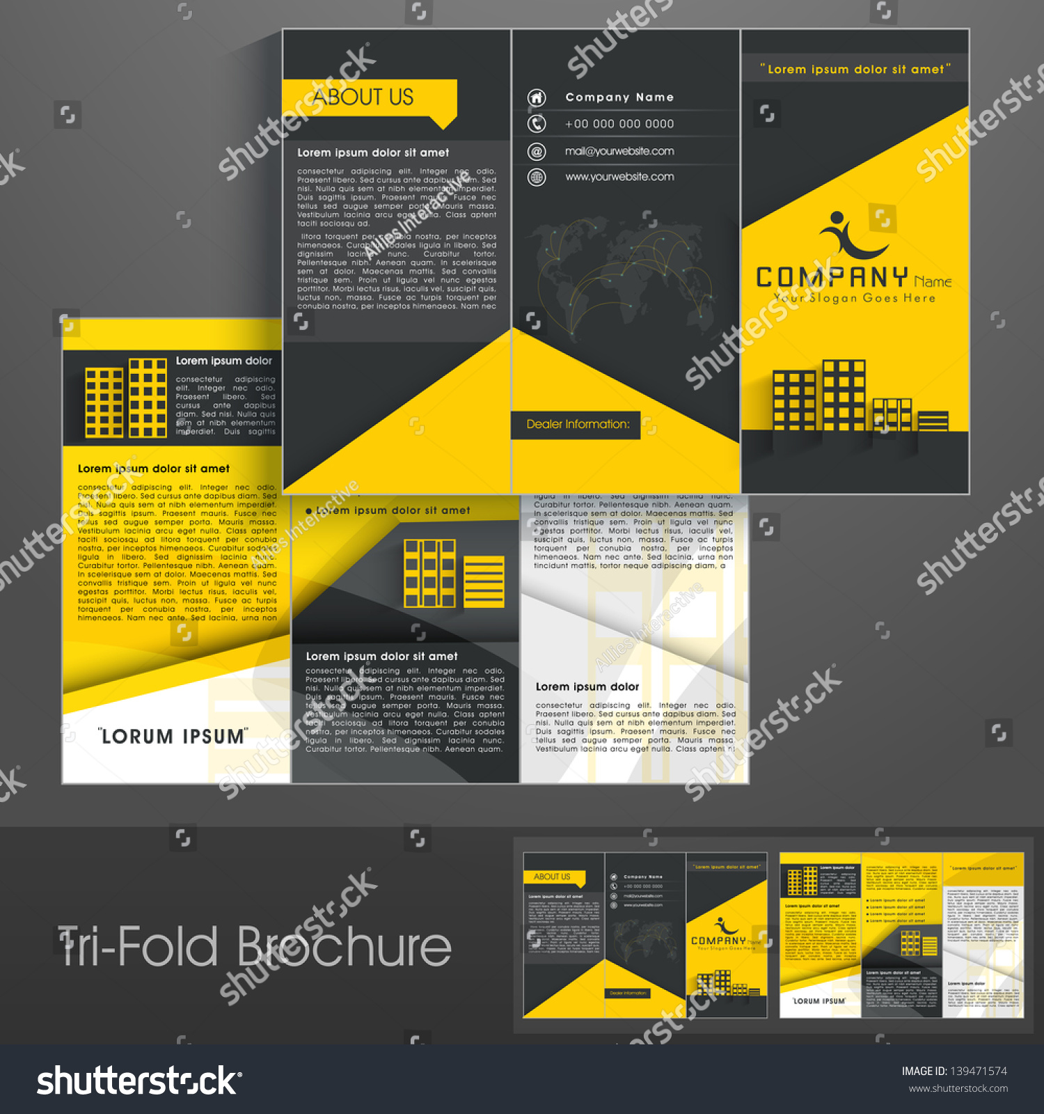 stock vector professional business three fold flyer template corporate brochure or cover design can be use for 139471574jpg