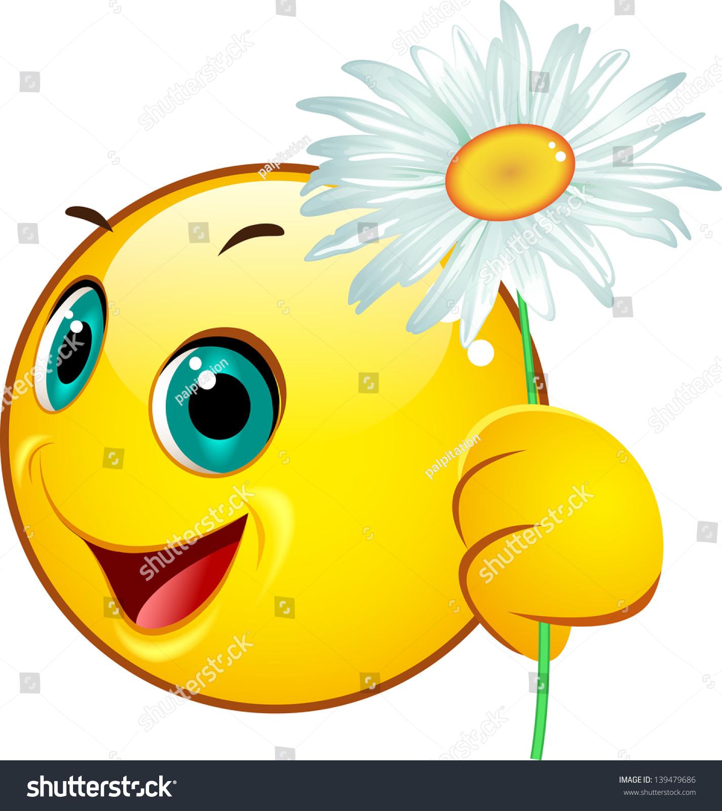 Emoticon Giving Camomile Stock Vector Shutterstock
