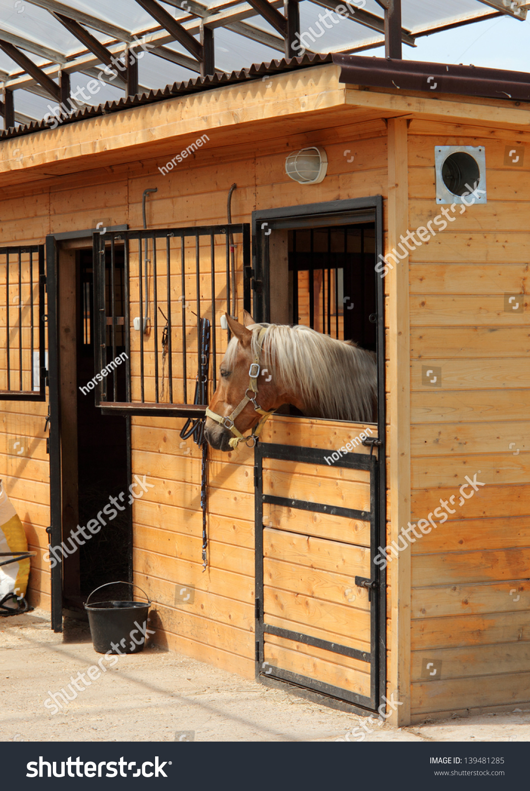 Race Horse Stalls Head Outside Stable Stock Photo Edit Now 139481285