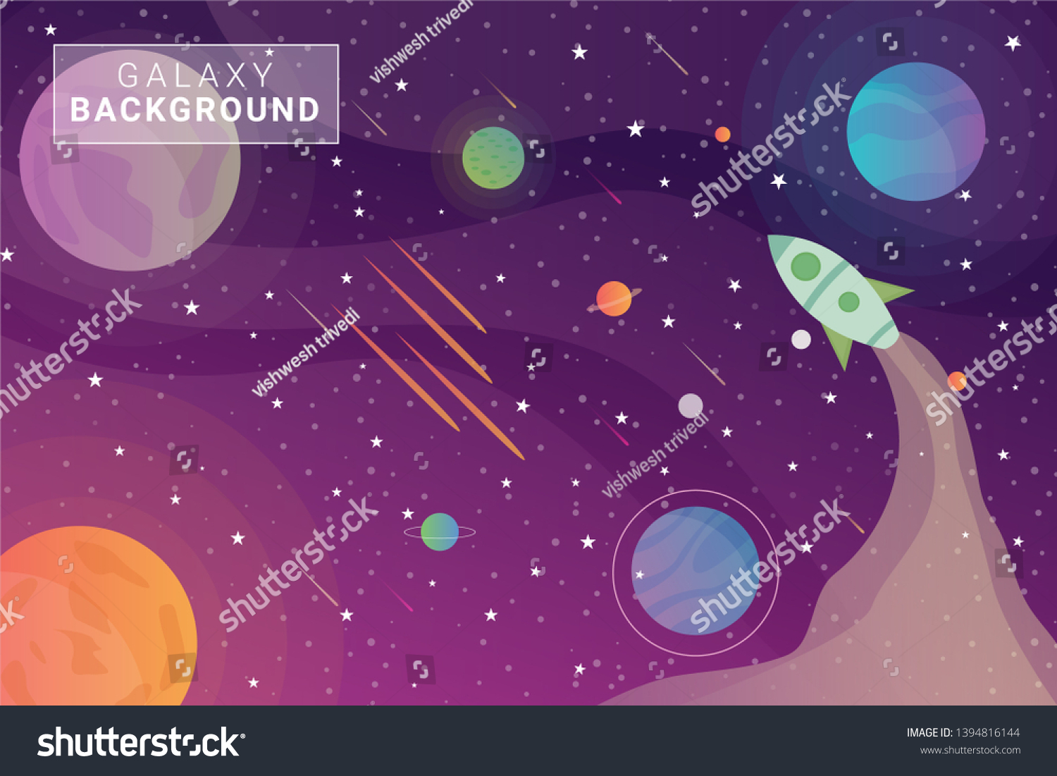 Gradient Colorful Galaxy Background Planets Vector Stock Vector Royalty Free 1394816144