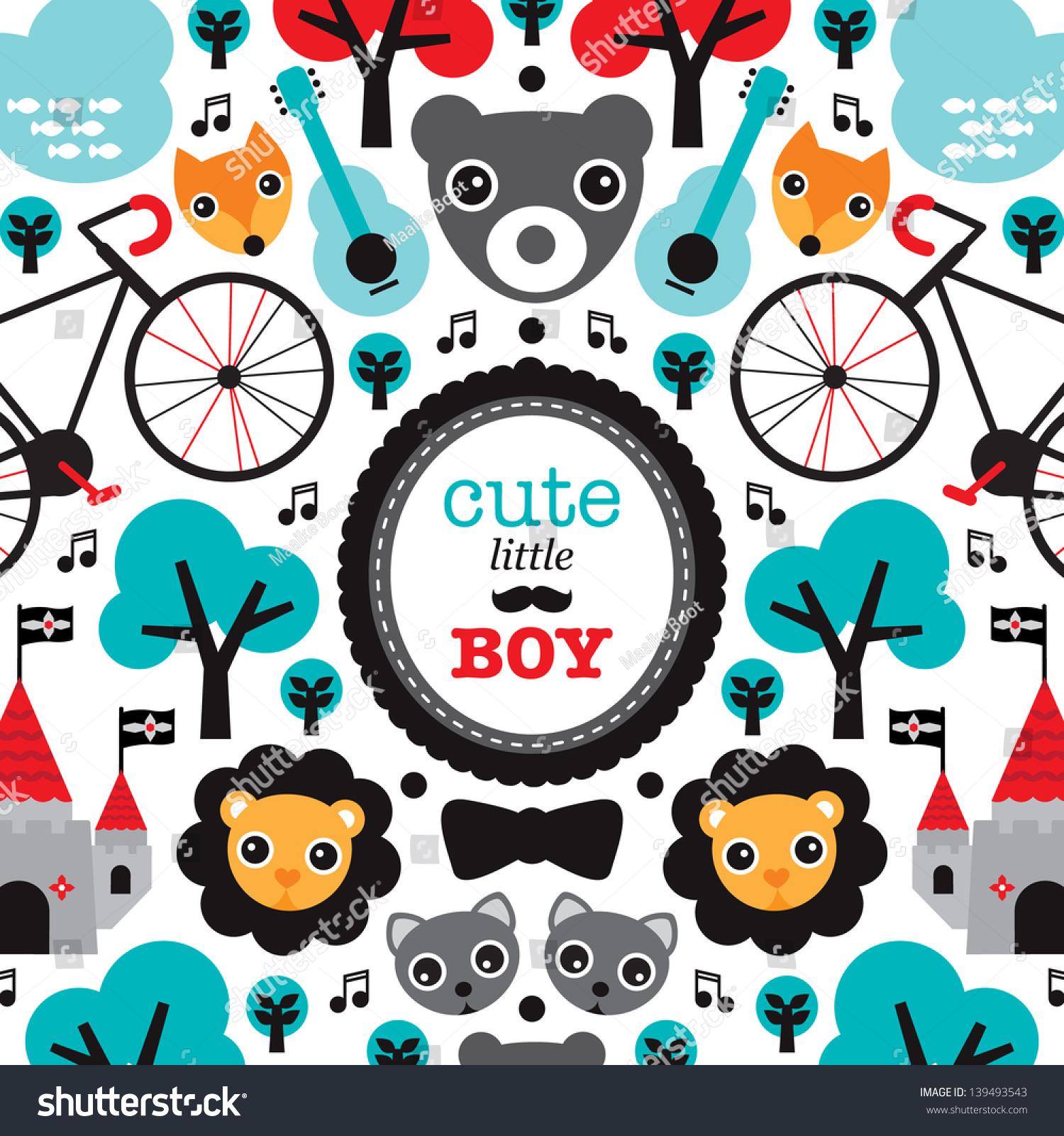Cute Fox Bear Music Illustration Baby Vector 139493543 – Baby Announcement Card Templates