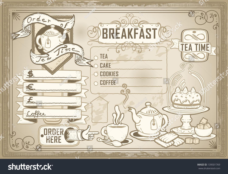 vintage restaurant menu blackboard breakfast restaurant stock vector