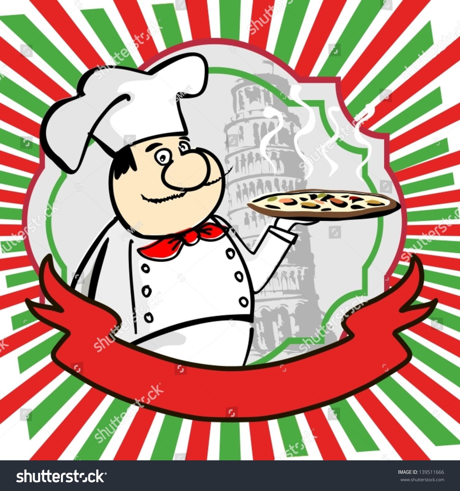 Cartoon Italian Chef Design Menu Label Stock Vector (Royalty Free ...