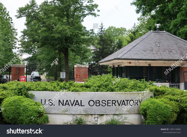 WASHINGTON, DC - MAY 11, 2019: US NAVAL OBSERVATORY - sign at entrance