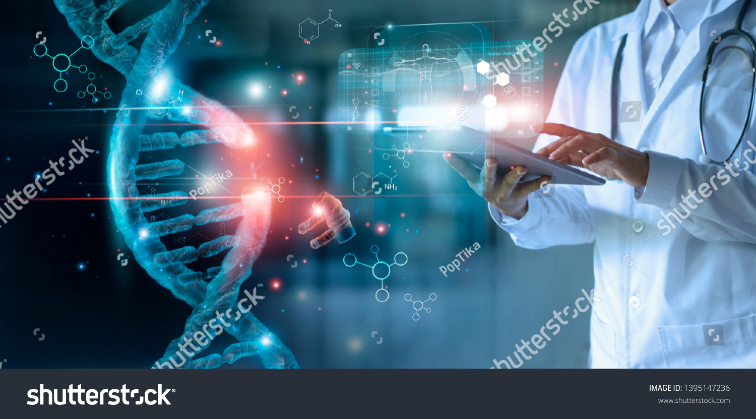 Abstract luminous DNA molecule. Doctor using tablet and check with analysis chromosome DNA genetic of human on virtual interface. Medicine. Medical science and biotechnology. #1395147236