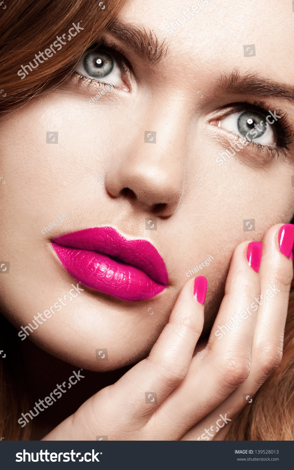 Beautiful Woman With Fashion Bright Makeup Stock Image ...