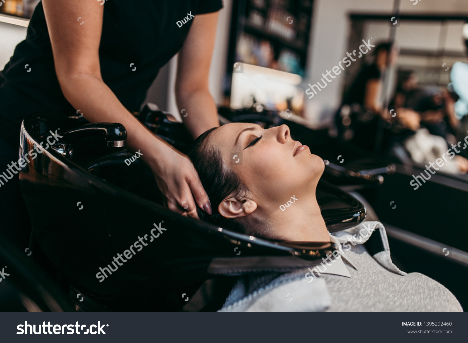 Beautiful Young Woman Getting Hair Wash Stock Photo Edit Now 1395292460