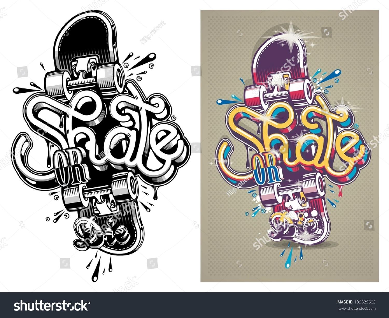 Vector illustration skate board graffitibackground stock vector vector illustration of a skate board with graffitibackground altavistaventures Images