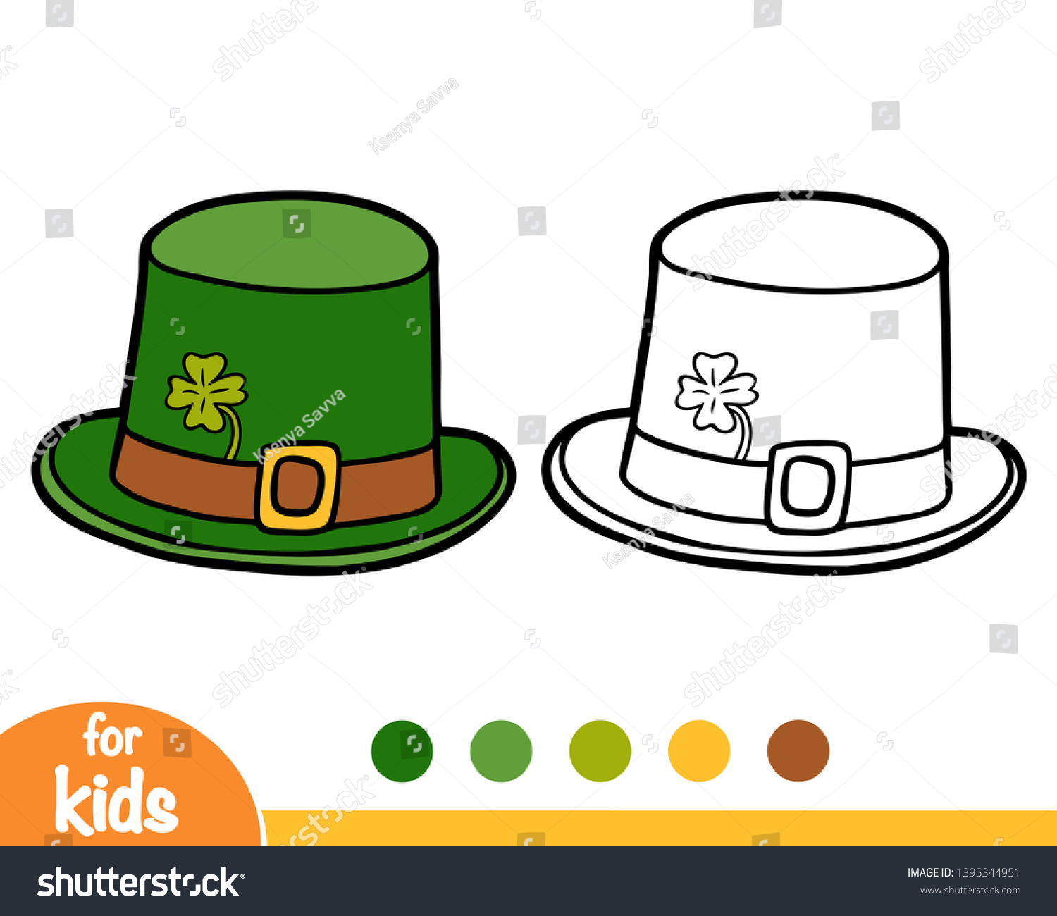Coloring book for children cartoon headwear leprechaun hat