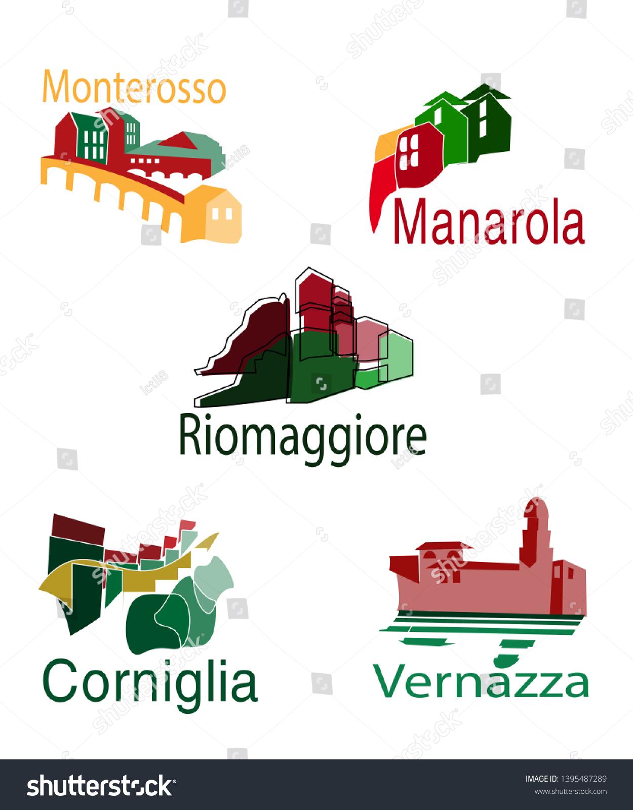 Five Logos National Park Cinque Terre Stock Vector Royalty Free 1395487289