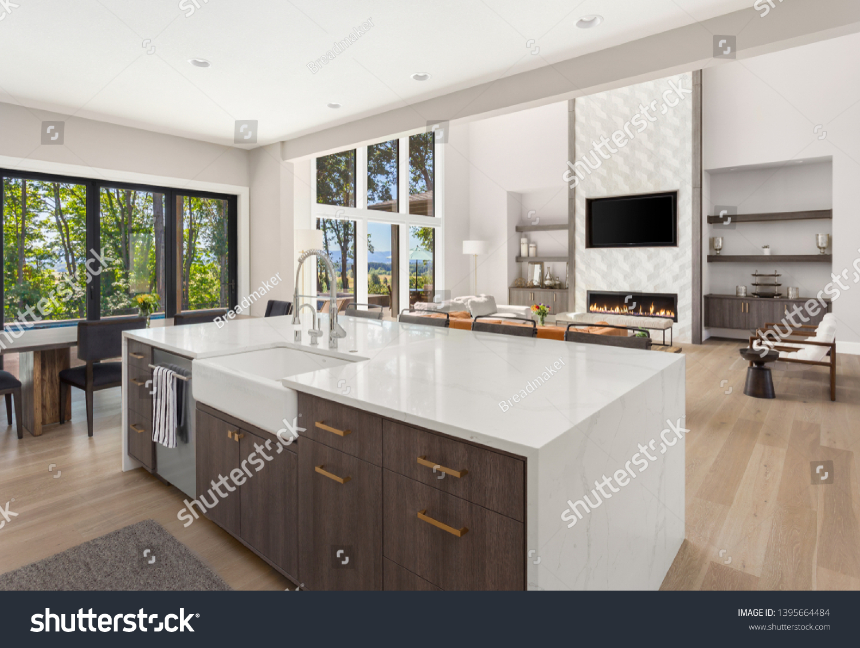 Beautiful Kitchen Living Room New Luxury Stock Photo Edit Now 1395664484