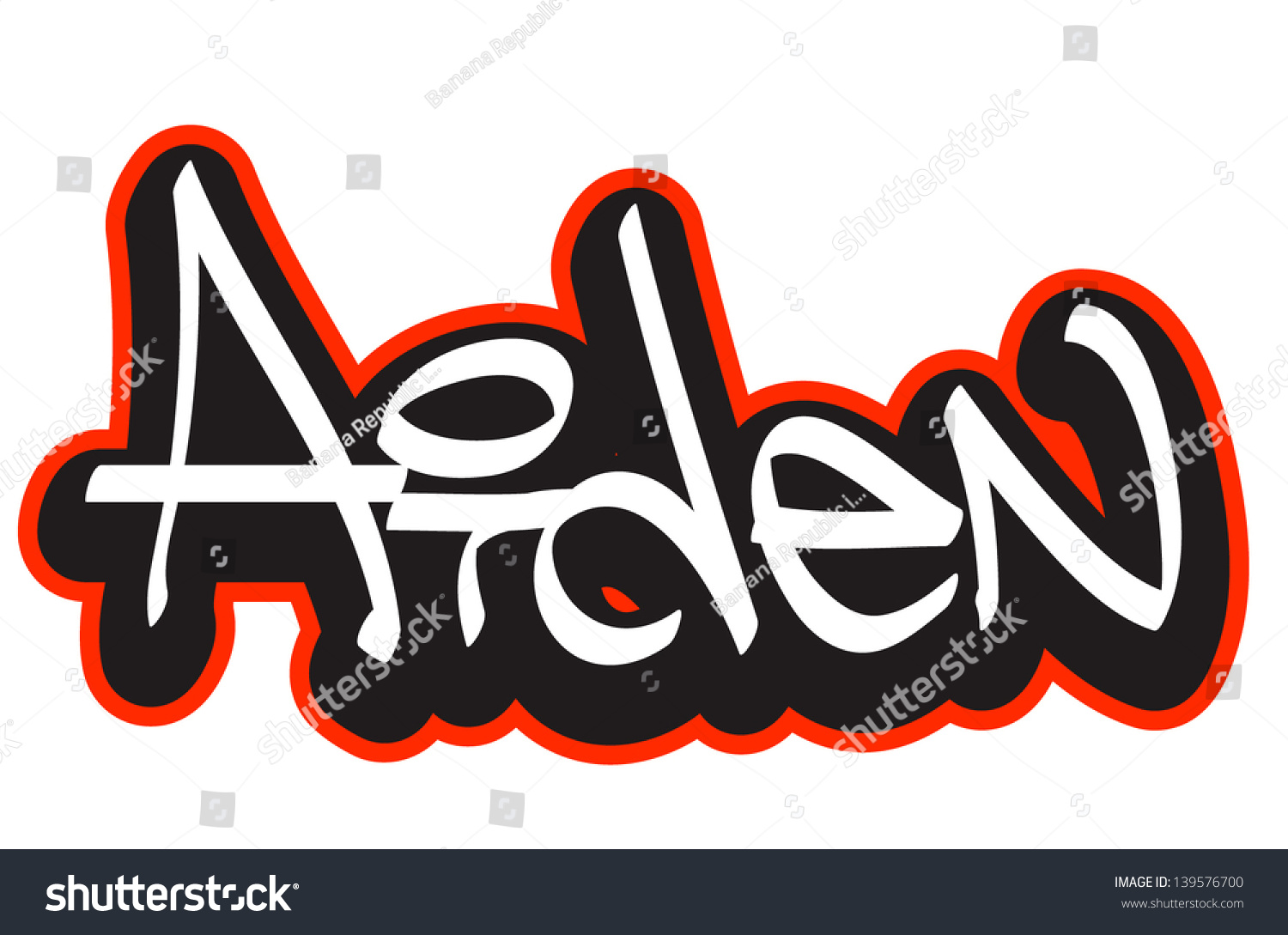 Aiden graffiti font style name hip hop design template for t shirt